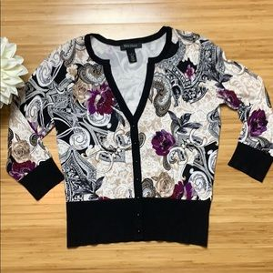 White House Black Market Small Floral Cardigan